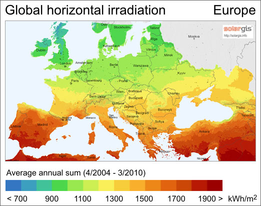 Average solar radiation map of Europe