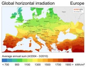 Average solar radiation map of Europe