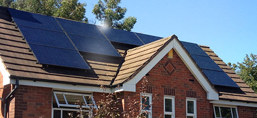Domestic PV solar panels on a house roof