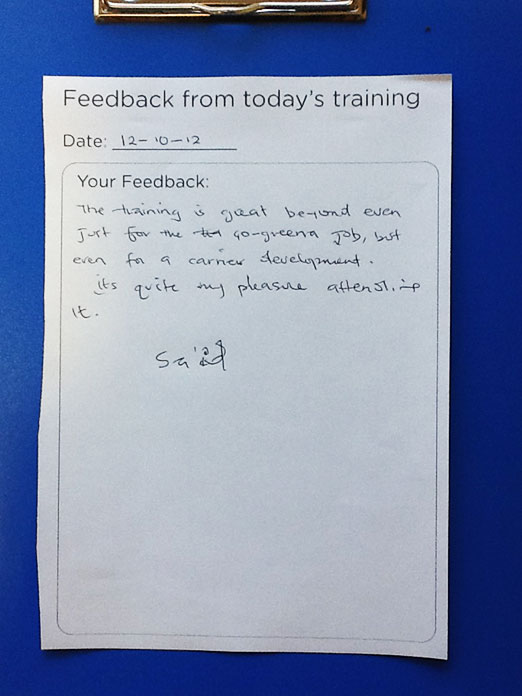 Positive feedback from the Go Greena training session