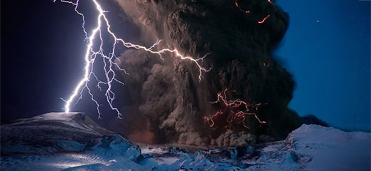 A volcano erupting in Iceland